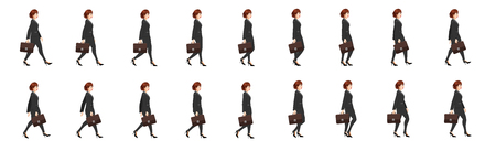 Lady lawyer walk cycle animation sprite sheet