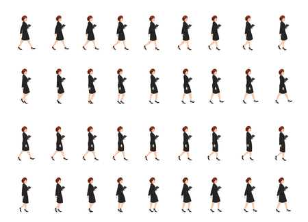 business girl walk cycle animation sheet
