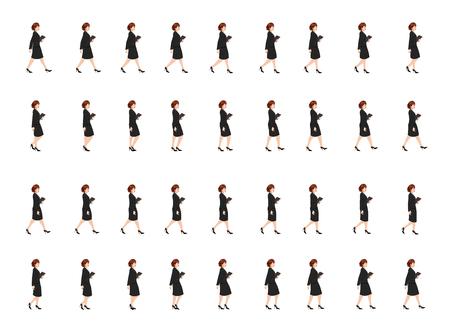 foglio di animazione del ciclo di camminata della ragazza di affari