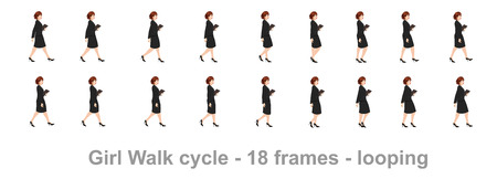 business girl walk cycle animation sprite sheet