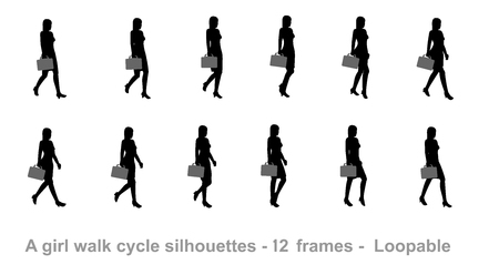 Business girl walk cycle animation sprite sheet Illustration