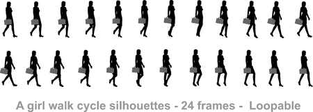 Business girl walk cycle animation sprite sheet 일러스트