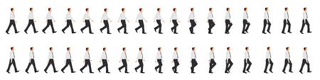 Arkusz sprite animacji cyklu spacerowego biznesmena