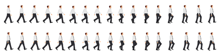 Business man walk cycle animation sprite sheet Vectores