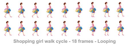Shopping girl walk cycle animation sprite sheet