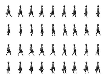 Shopping girl walk cycle animation sheet Vectores