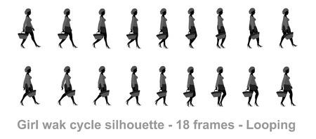 Shopping Mädchen Spaziergang Zyklus Animation Sprite Blatt Silhouette Vektorgrafik