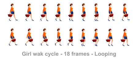 Shopping girl walk cycle animation sprite sheet