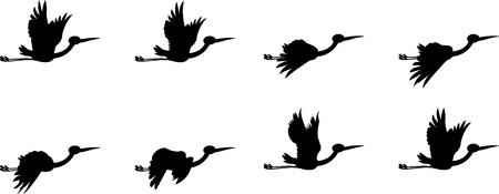 Feuille d'animation volant cigogne, cigogne Silhouette Vecteurs