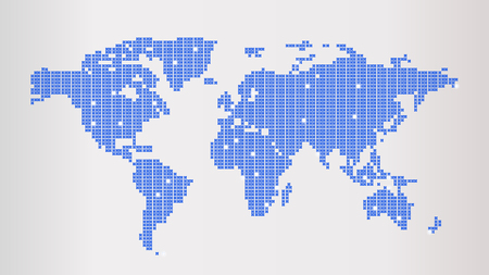 Blue Dotted World Map Illustration