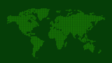 Green dotted world map