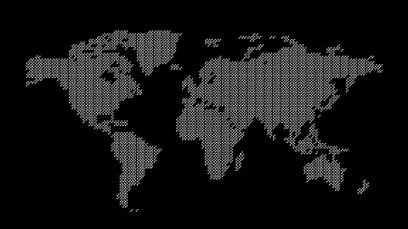 Grey dotted world map