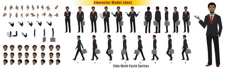 Arkusz modelu postaci biznesmena z sekwencją animacji cyklu spaceru