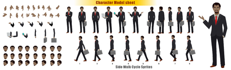 Businessman Character Model sheet with Walk cycle Animation Sequence Ilustração