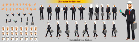 Businessman Character Model sheet with Walk cycle Animation Sequence Vettoriali