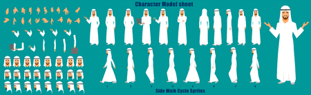 Businessman Character Model sheet with Walk cycle Animation Sequence 일러스트
