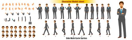 Foglio del modello del personaggio dell'uomo d'affari con la sequenza di animazione del ciclo di camminata