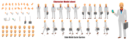 Businessman Character Model sheet with Walk cycle Animation Sequence 矢量图像