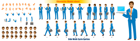 Businessman Character Model sheet with Walk cycle Animation Sequence Illustration