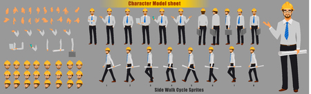 Engineer Character Model sheet with Walk cycle Animation Sequence 向量圖像