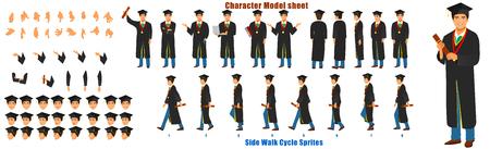 Hoja de modelo de personaje del estudiante con secuencia de animación del ciclo de caminata Ilustración de vector