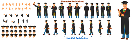 Student Character Model sheet with Walk cycle Animation Sequence 矢量图像