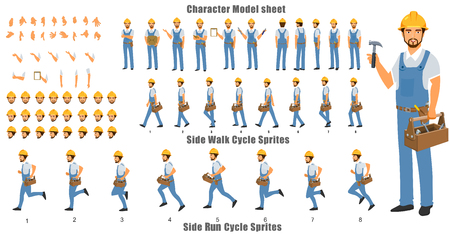 HandymanCharacter Model sheet with Walk cycle and Run cycle Animation Sequence