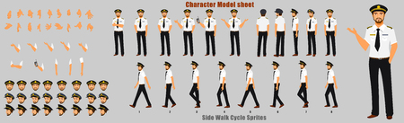 Pilot Character Model sheet with Walk cycle Animation Sequence 矢量图像