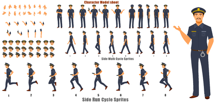 Police Character Model sheet with Walk cycle Animation Sequence