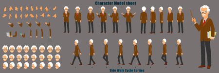 Proffessor Character Model Sheet with Walk cycle Animation Sequence