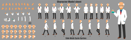 Scientist Character Model Sheet with Walk cycle Animation Sequence