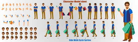 Shopping Man Character Model sheet with Walk cycle Animation Sequence Illustration