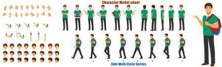 Feuille de modèle de personnage d'étudiant avec séquence d'animation du cycle de marche