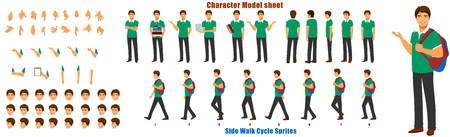 Student Character Model sheet with Walk cycle Animation Sequence Ilustração