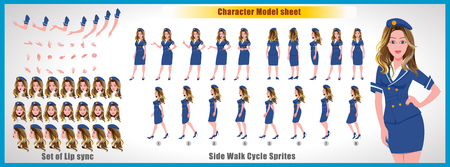 Air hostess  Character Model sheet with Walk cycle Animation Sequence 矢量图像