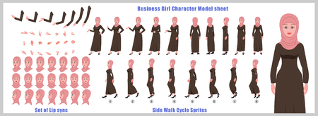 Arab woman Character Model sheet with Walk cycle Animation Sequence
