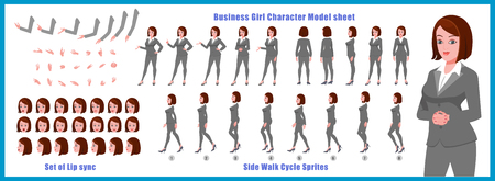 Businesswoman Character Model sheet with Walk cycle Animation Sequence 矢量图像