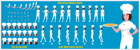 Hoja de modelo de personaje de chef femenina con secuencia de animación de ciclo de caminata