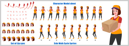 Courier Girl Character Model sheet with Walk cycle and Run cycle Animation Sequence 矢量图像