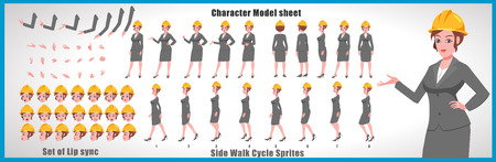Female Engineer Character Model sheet with Walk cycle Animation Sequence