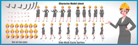 Scheda modello personaggio ingegnere femminile con sequenza di animazione del ciclo di camminata