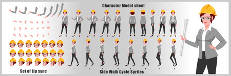 Hoja de modelo de personaje de ingeniera con secuencia de animación de ciclo de caminata