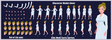 Businesswoman Character Model sheet with Walk cycle Animation Sequence Illustration