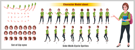 Girl Student Character Model sheet with Walk cycle Animation Sequence