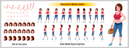 Young Girl Character Model sheet with Walk cycle Animation Sequence