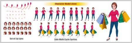 Shopping Woman Character Model-Blatt mit Animationssequenz für den Laufzyklus