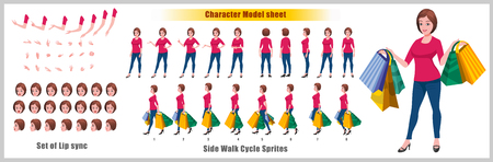 Shopping Woman Character Model sheet with Walk cycle Animation Sequence