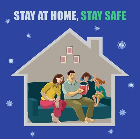 Stay at home, stay safe vector illustrations, Precaution of new Coronavirus 矢量图像