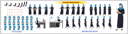 Arab Girl Student Character Design Model Sheet with walk cycle animation. 矢量图像