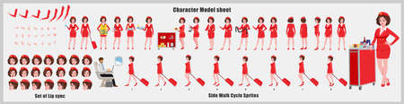 Stewardess Character Design Model Sheet with walk cycle animation.